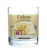 Colony Gold, Frankincense and Myrrh Scented Candle Glass