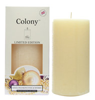 Colony Gold, Frankincense and Myrrh Scented Pillar Candle
